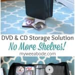 DVD CD storage solution binder no more rack binder on floor with dvds and cds closed and open