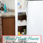 Three Must Haves Small Home rollaway pantry between refrigerator and counter