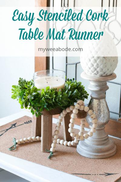 Easy Stenciled Cork Table Mat Runner