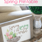 free spring watercolor wall art printable with closeups and title