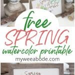 free spring watercolor printable images on side table with candle holder and greenery ball