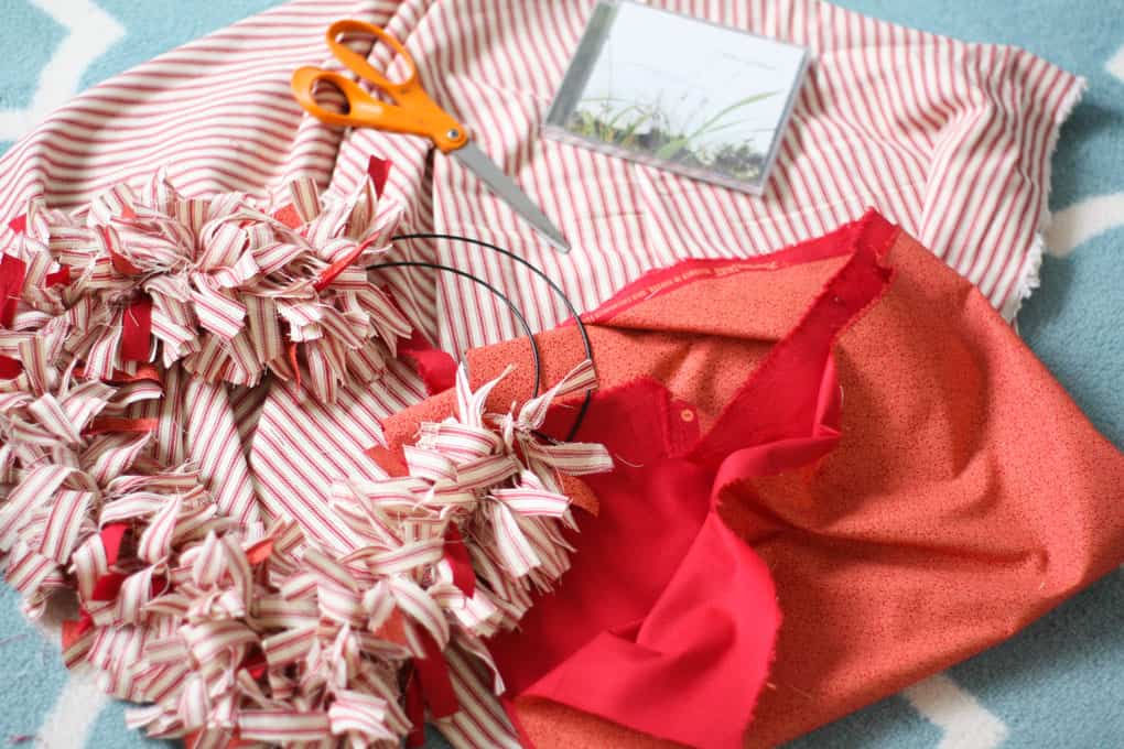 make a ticking stripe fabric heart wreath supplies