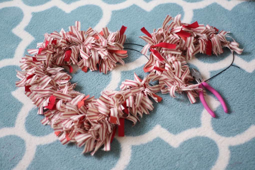 make ticking stripe fabric heart wreath cut apart frame