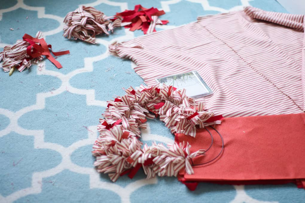 make ticking stripe fabric heart wreath supplies and wire frame