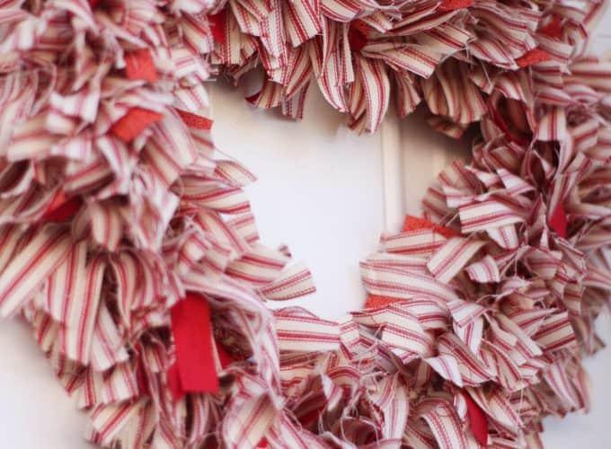 make ticking strip fabric heart wreath Valentine's