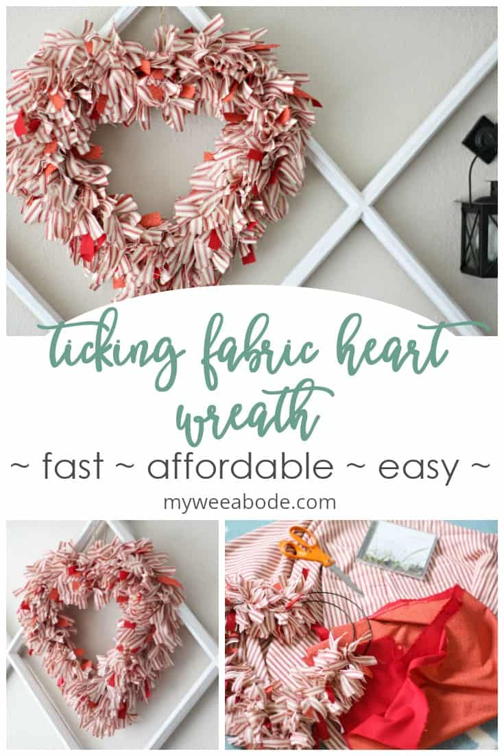 heart wreath in red and white fabric