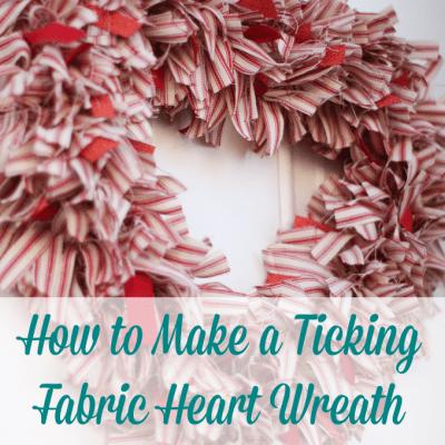make ticking stripe fabric heart wreath Valentine