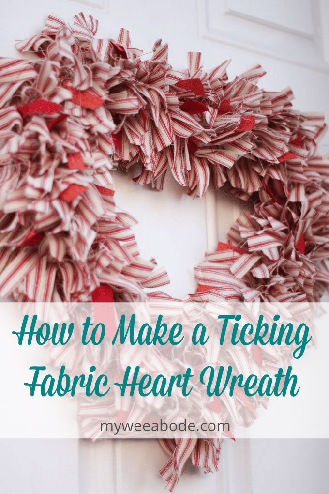 make ticking fabric heart wreath Valentine heart wreath on white door