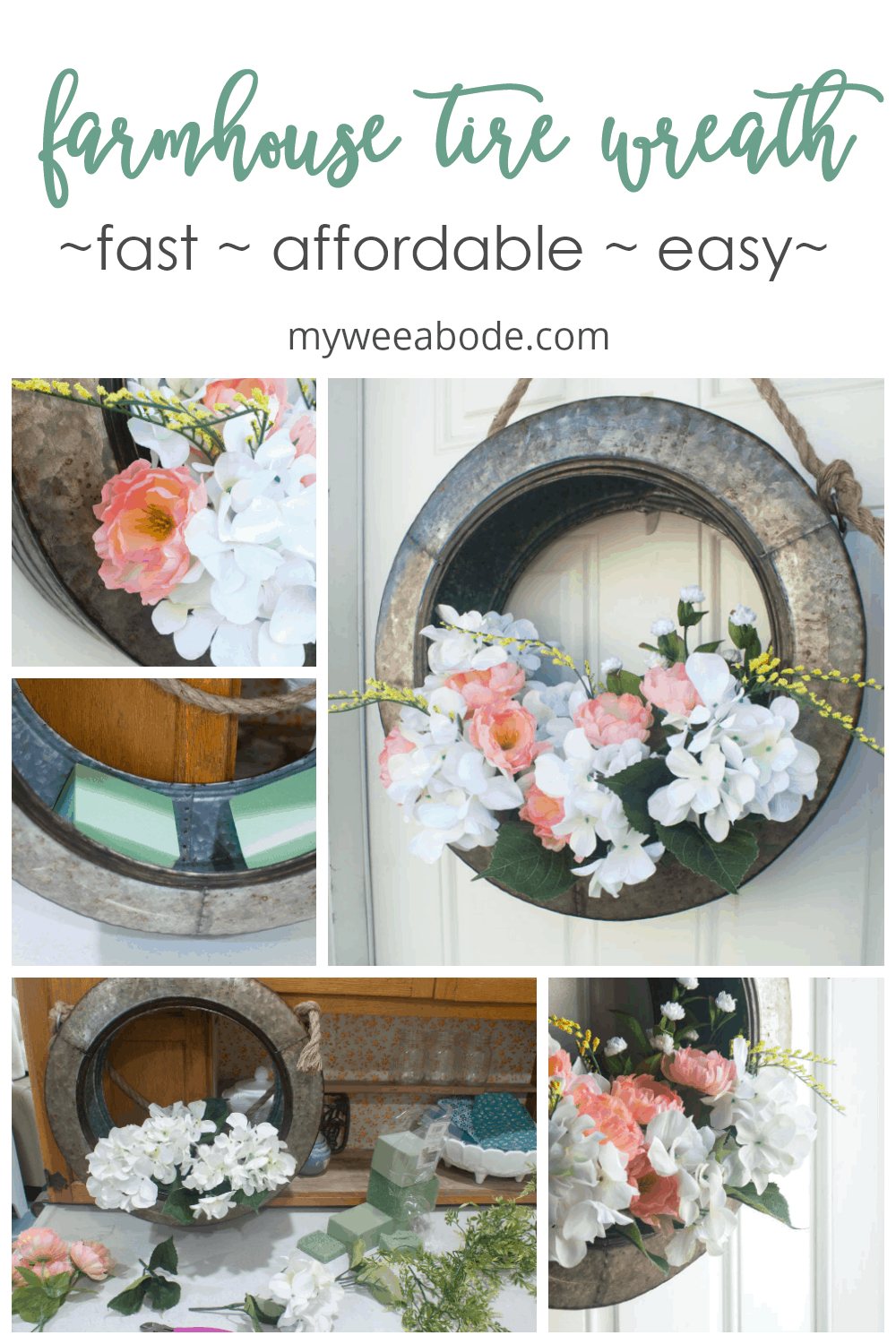 spring floral tire wreath metal tire wreath door decor with rope peach and white flowers