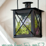 spring home tour part 1 curating a home black lantern hanging on wall with moss and egg inside