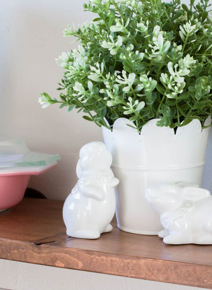 spring tour part 1 comparison trap wooden shelf with white bunnies and planter with faux boxwood