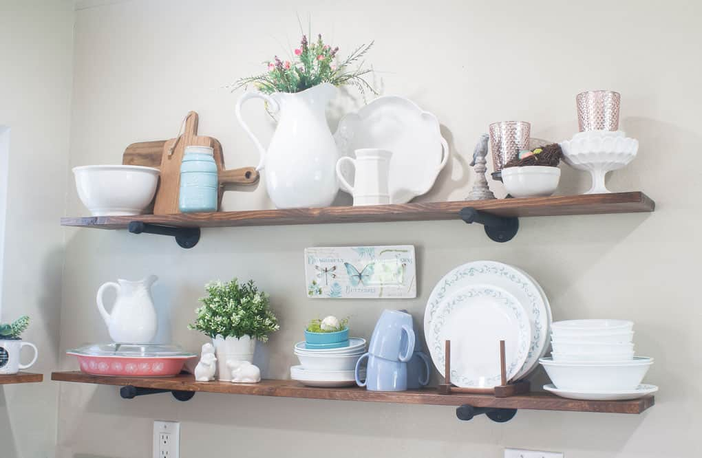spring tour part 1 comparison trap open shelving with white dishes greenery and aqua and pink accents