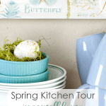 spring home tour comparison trap dishes and decor on open shelf with butterfly plaque