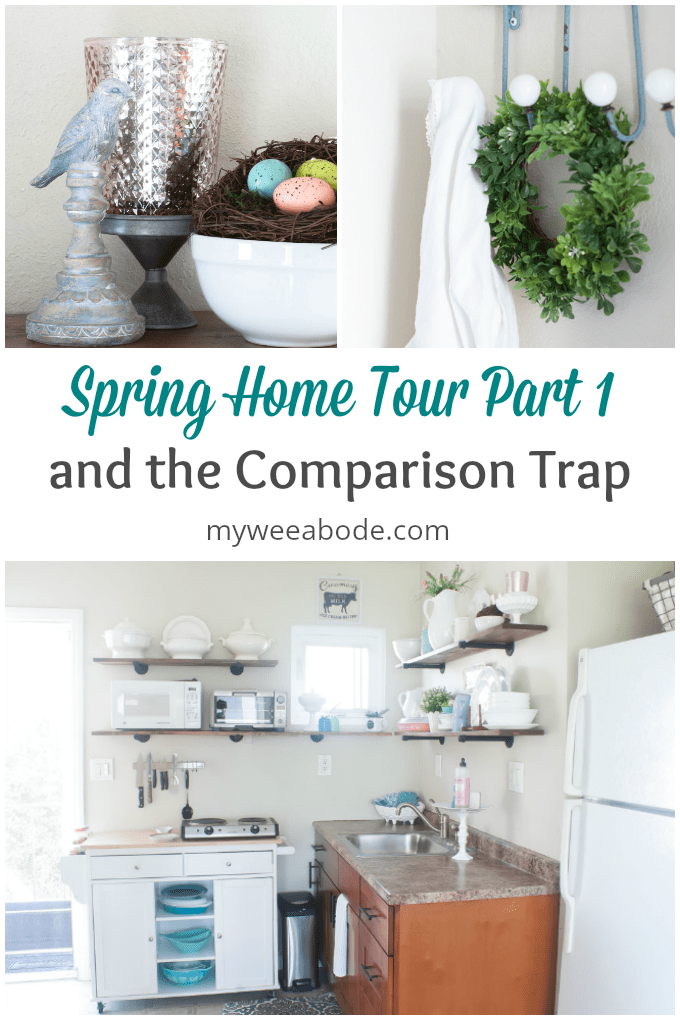 spring home tour part 1 and the comparison trap bird with nest spring wreath hanging on aqua hanger view of kitchen with spring decor