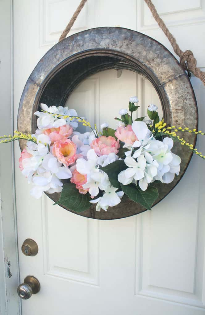 diy unique floral tire wreath farmhouse