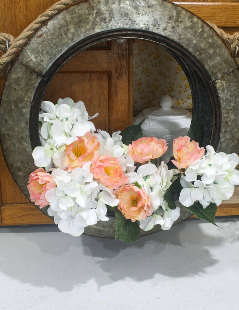 diy unique spring floral tire wreath farmhouse