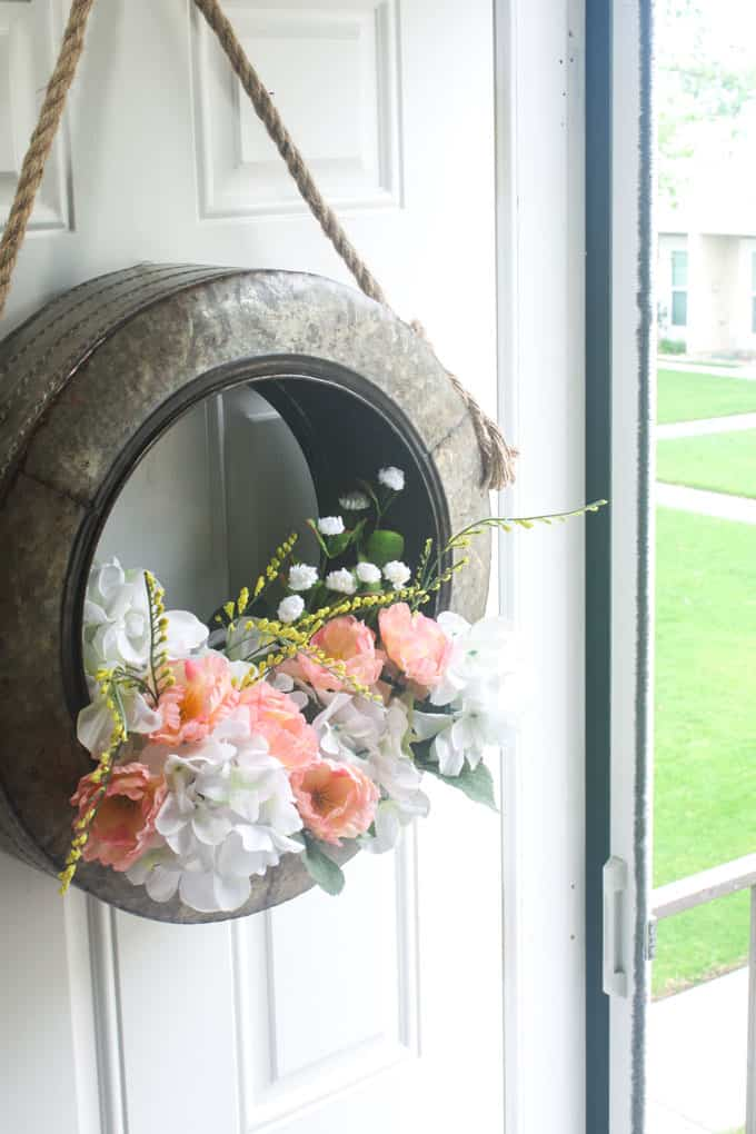 diy unique spring tire wreath farmhouse