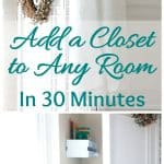 add quick and pretty closet to any room closet divider with wreath and linen scarf