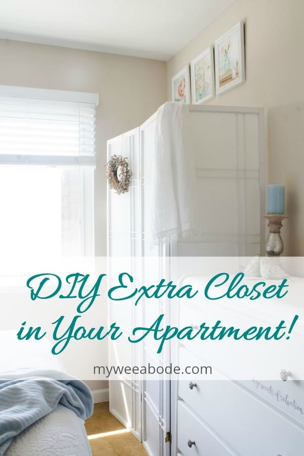 white room divider with wreath and linen scarf candle holder on dresser and title DIY extra closet in your apartment