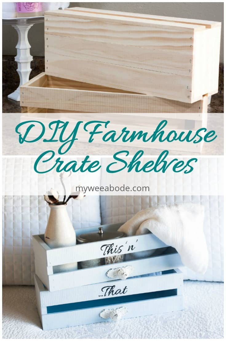 diy farmhouse crate shevles unfinished pine crate painted blue with towel milk bottle cotton stem titled diy farmhouse crate shelves