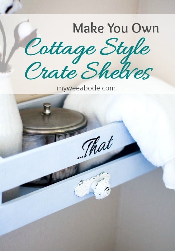 blue crate shelf with white knob lettering says that with white towel milk bottle and silver lid title cottage style crate shelves