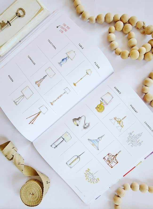 diy home planner inside book illustrations of lighting options