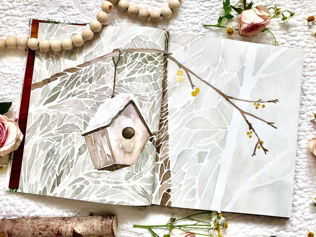 water color illustration of birdhouse inside gracelaced book