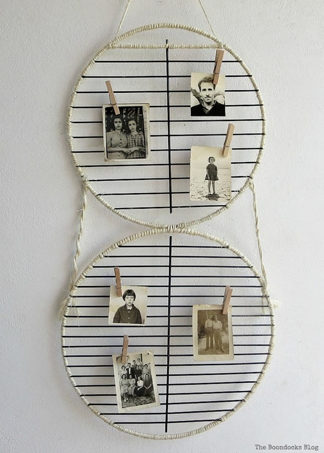 twine wrapped grill grates with photos attached with clothespins