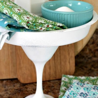 white cake plate with aqua bowl and sugar with printed napkin