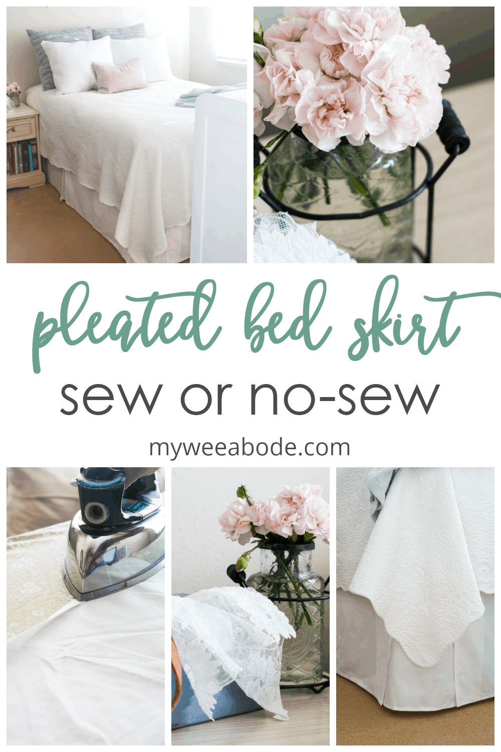 easy sew or no sew bed skirt with photos of flowers iron and bed