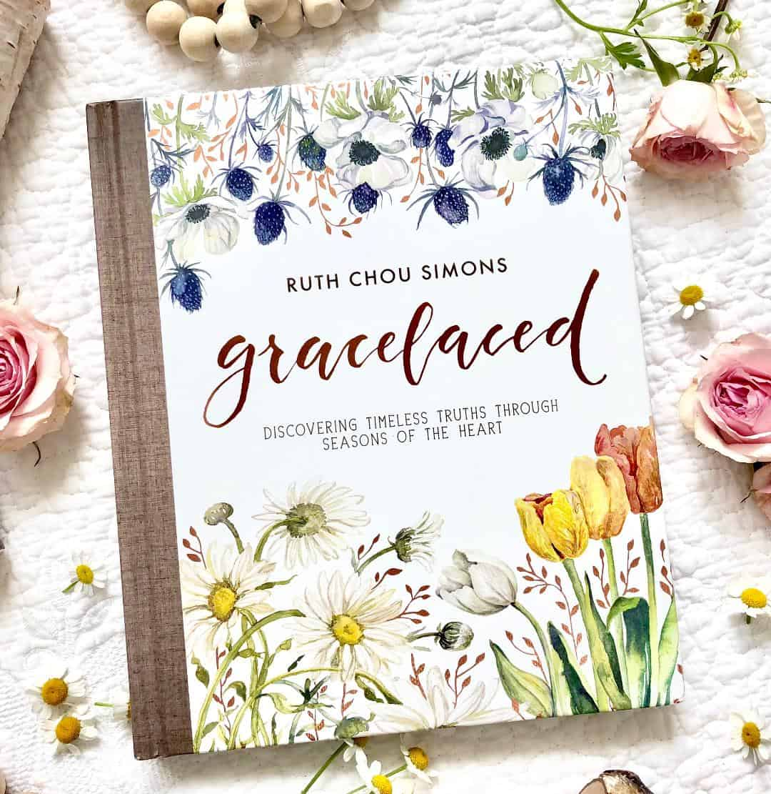 book cover of gracelaced with flowers beads on white background