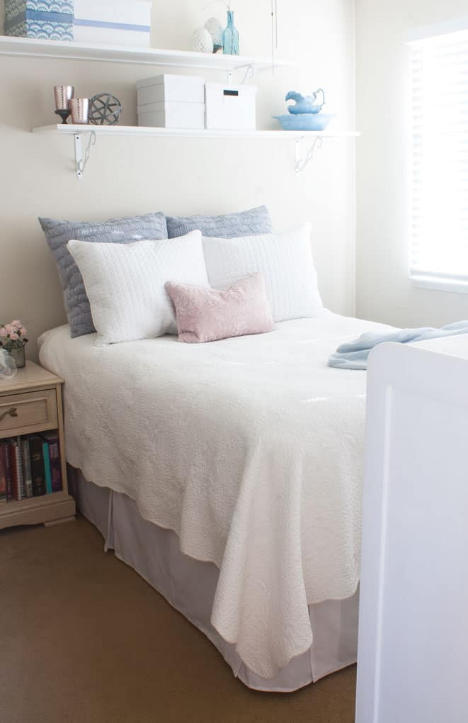 easy sew or new-sew pleated bed skirt bedroom with bed and nightstand with white blue pink bedding