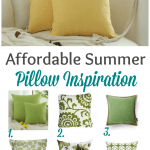 yellow pillows on a tan sofa with a collection of green pillows title affordable summer pillow inspiration