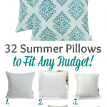 Aqua and white pillow collection title 32 summer pillows to fit any budget