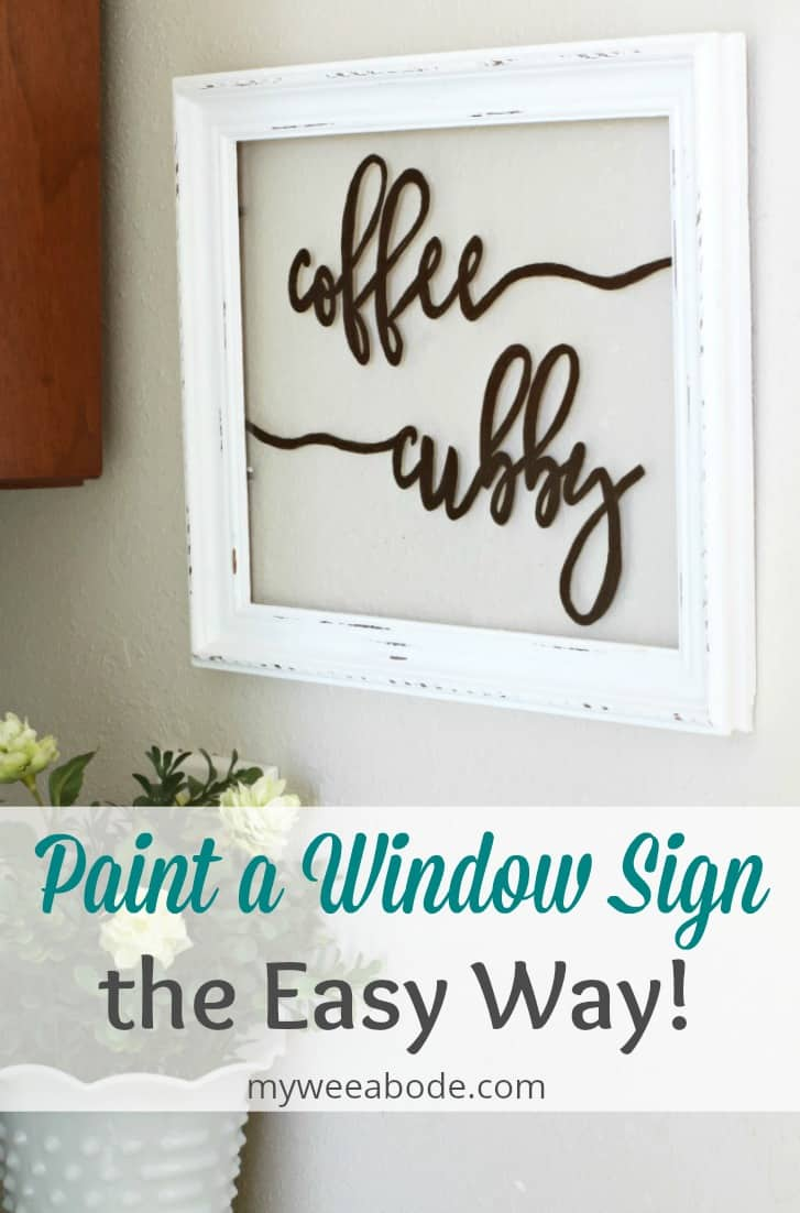 frame on wall with coffee cubby painted on it with floral vase and titled paint a window sign the easy way