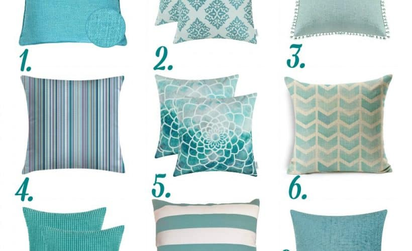 nine aqua pillows in different textures and prints