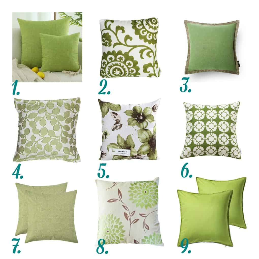 nine green pillows in different prints and textures numbered