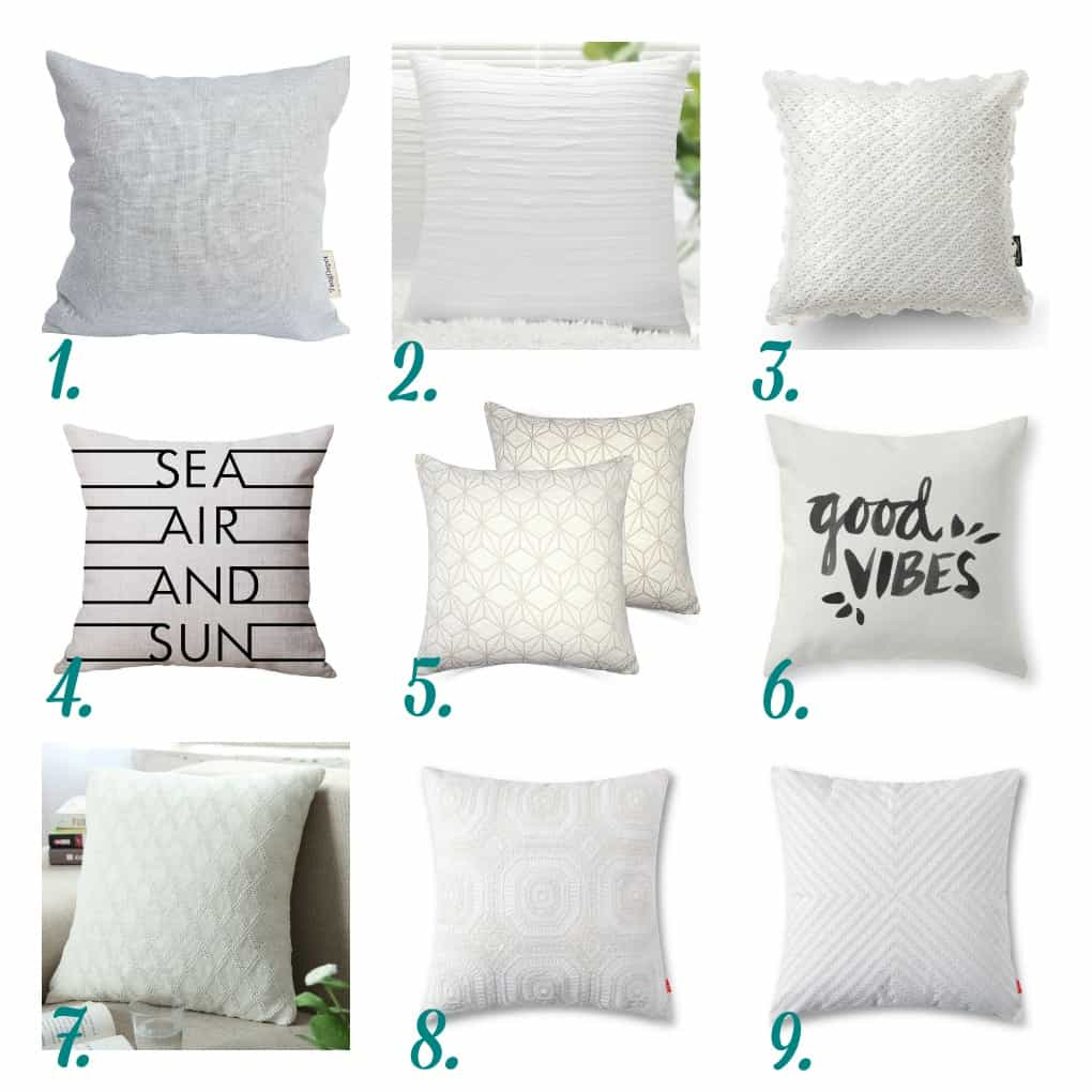 white pillows in different textures and prints numbered one thru nine