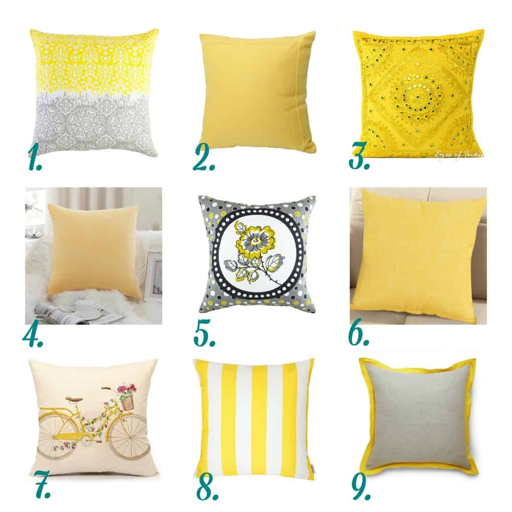 nine yellow pillows with numbers