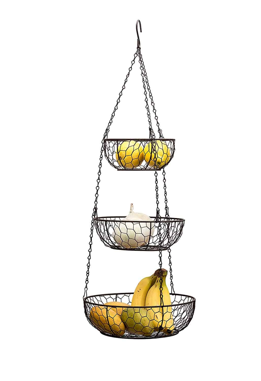 three tiered wire hanging basket with lemons bananas onions
