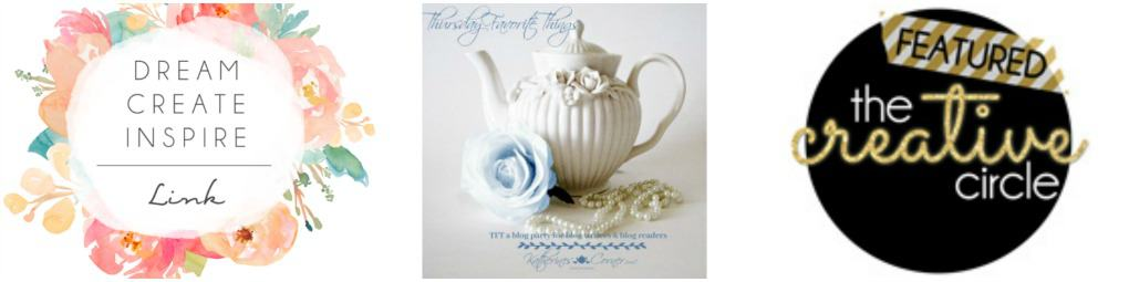 three photos with wreaths and writing and teapot with blue rose