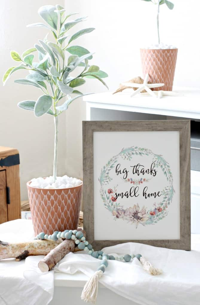 topiary tree in terra cotta pot with framed wall art that says big thanks small home birch branches and wooden bead garland on white table