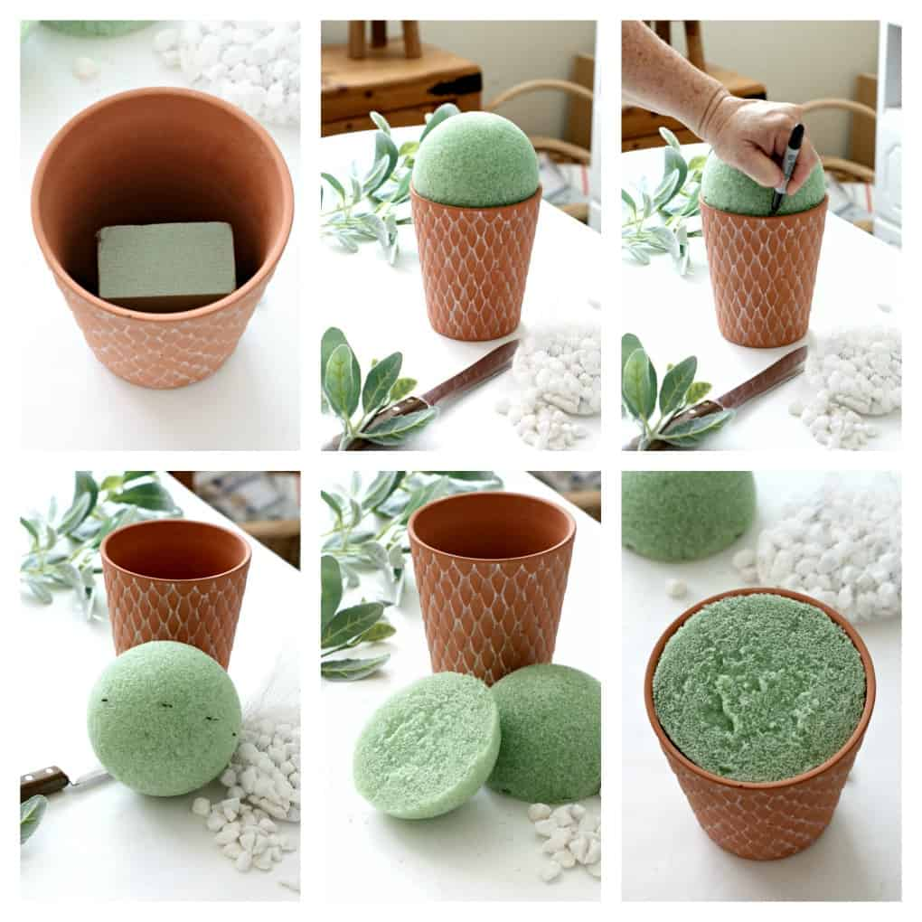 six photos terra cotta pot green stryrofoam floral supplies on white table