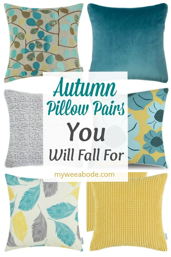 autumn pillows in variety of colors and prints