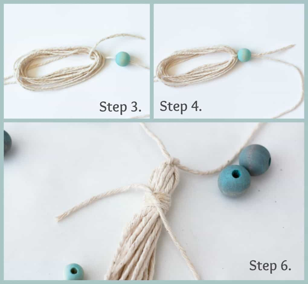 cotton twine with aqua wood bead on white counter