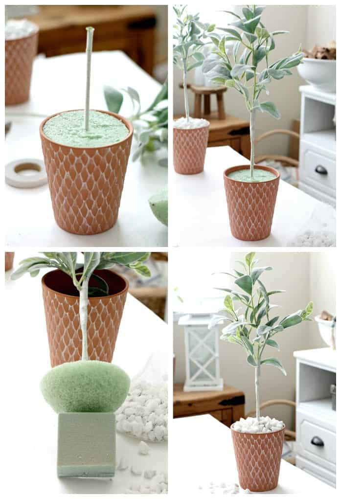 four photos terra cotta pot green stryrofoam floral supplies on white table