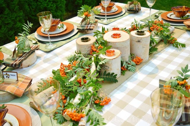tuesday turn about #5 the best blog posts on the web green natural and orange tablesetting with plates glasses and dishes on buffalo check tablecloth