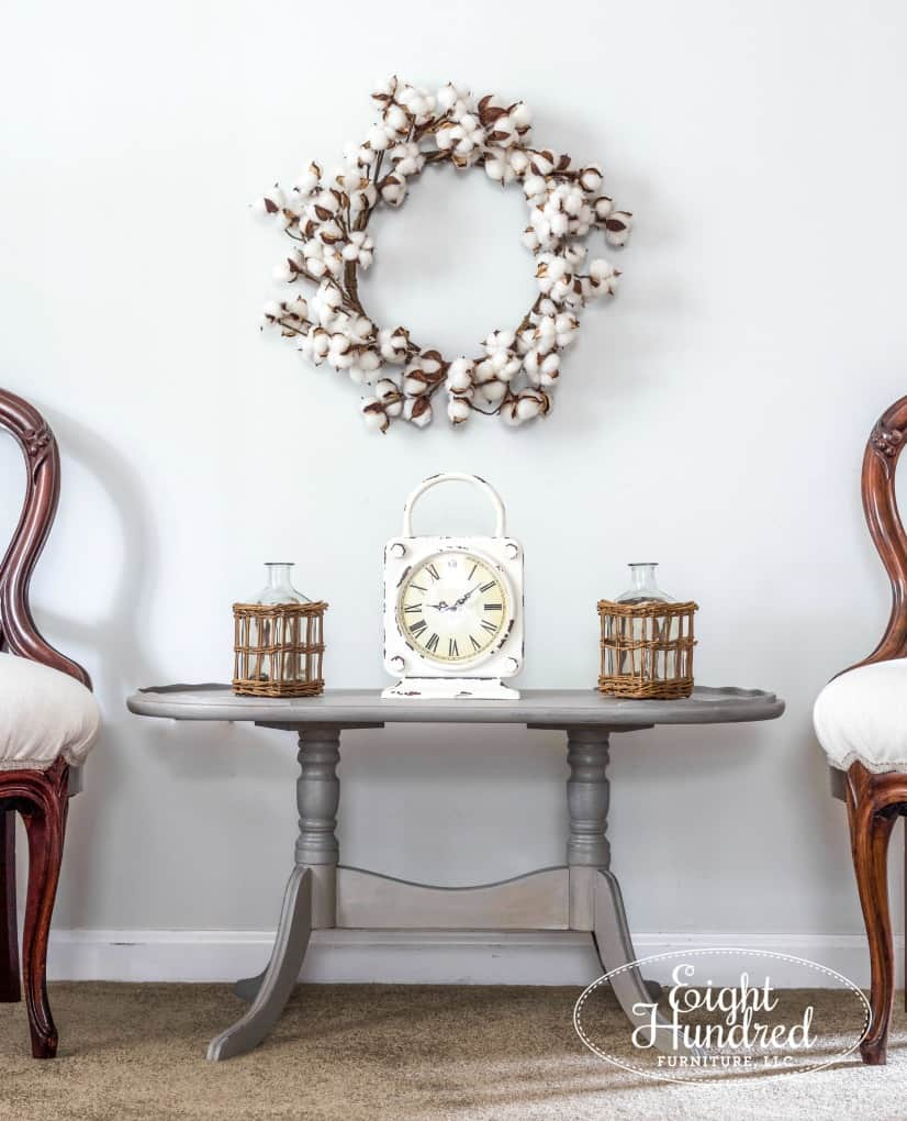 tuesday turn about #5 the best blog posts on the web oval coffee table with two french chairs styled with cotton stem wreath and clock