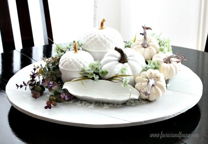 tuesday turn about #5 the best blog posts on the web lazy susan with pumpkins and leaves and corn plate used as a centerpiece