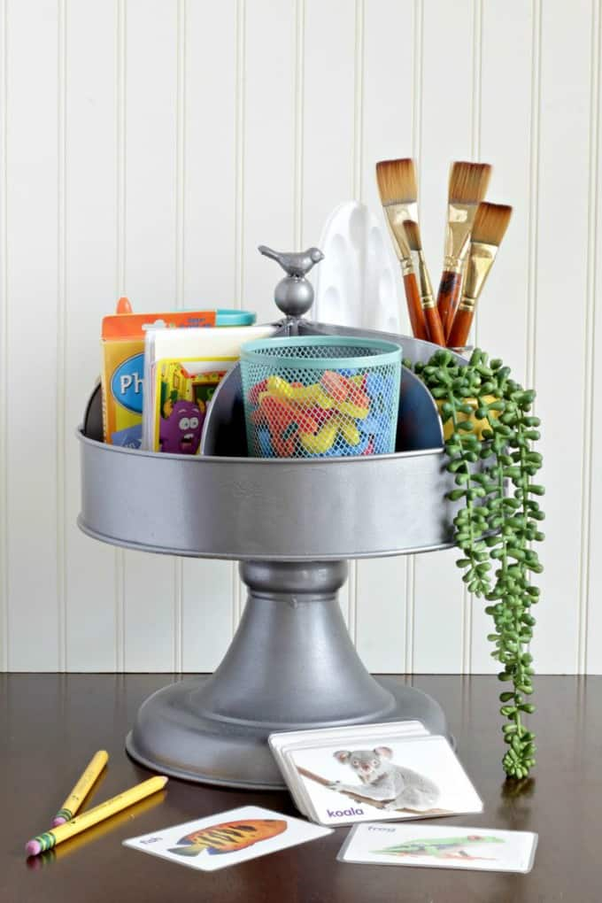 tuesday turn about #5 the best blog posts on the web galvanized caddy with bird knob on the top holding childrens craft supplies
